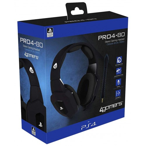 Headset com fios 4Gamers PRO 4 80 Preto PS4