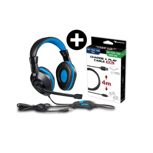 Headset Indeca + Cabo de Carregamento XXL Subsonic PS4 & Xbox One