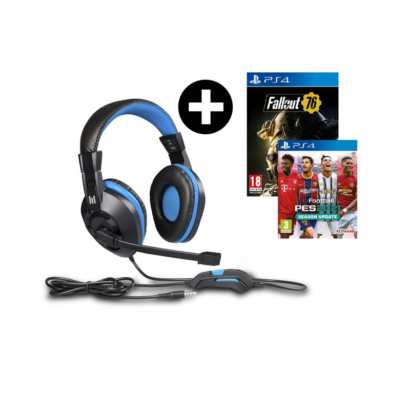 Headset Indeca + Efootball PES 2021 + Fallout 76 PS4
