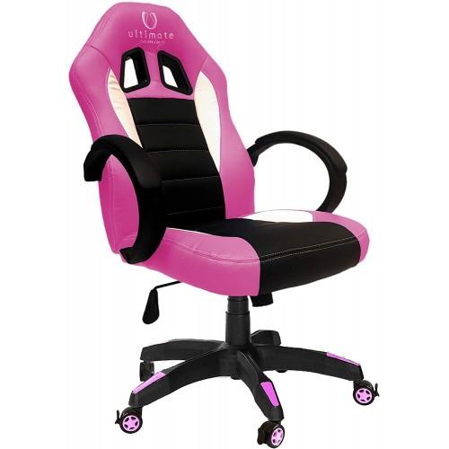 Cadeira Ultimate Gaming Taurus Rosa, Preto e Branco