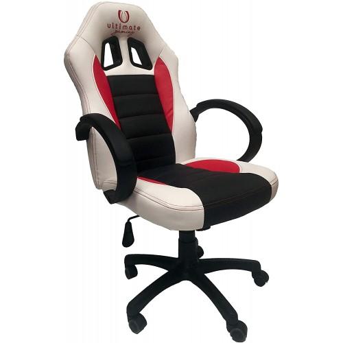 Cadeira Ultimate Gaming Taurus Branco, Preto e Vermelho
