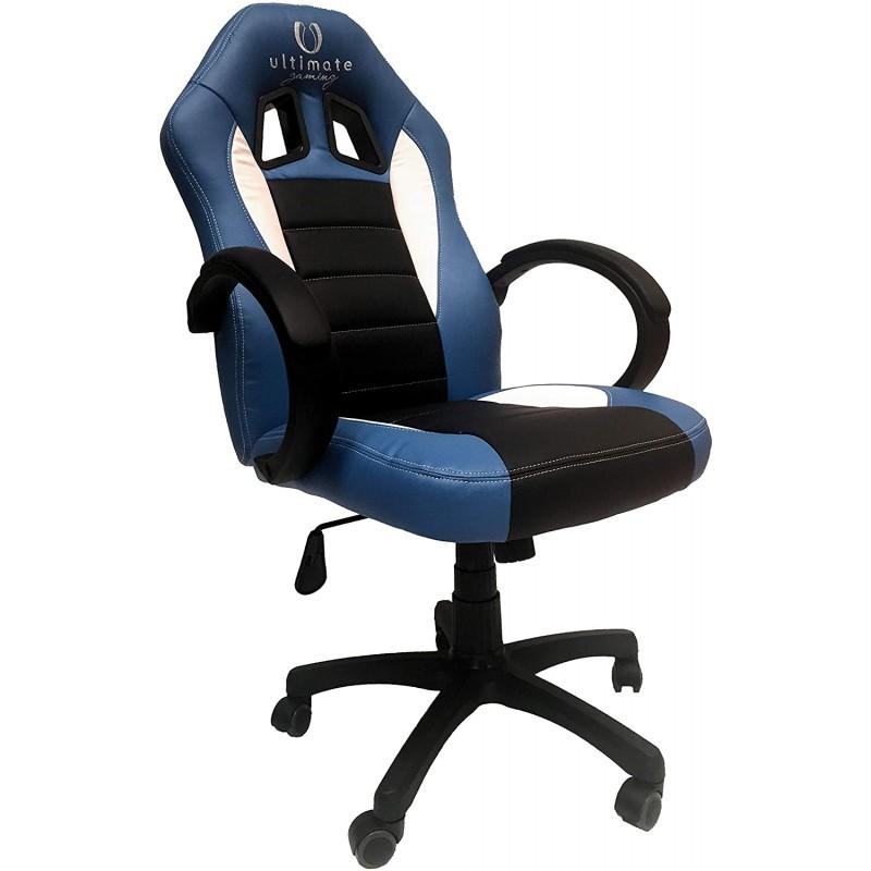 Cadeira Ultimate Gaming Taurus Azul, Preto e Branco