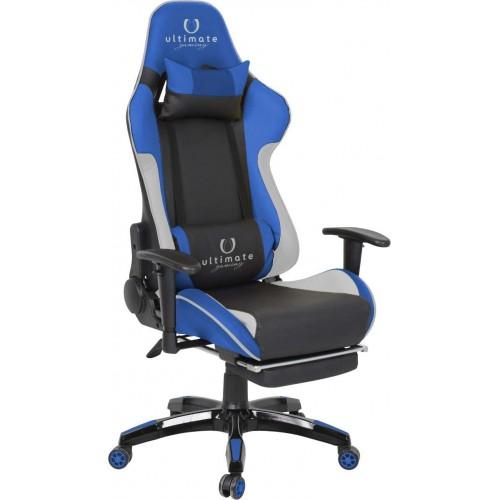 Cadeira Ultimate Gaming Orion Azul, Preto e Branco