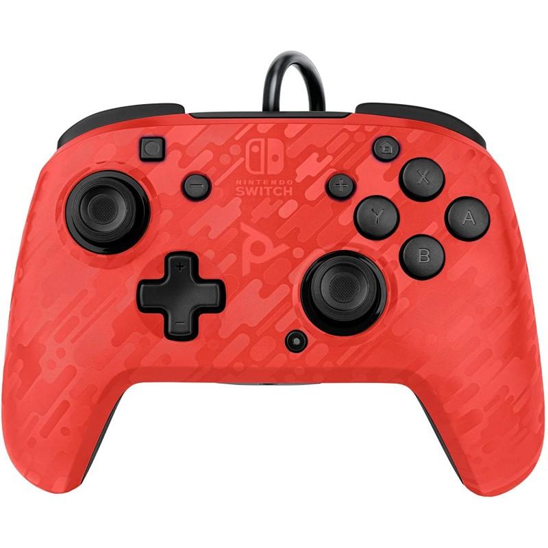 Comando PDP Faceoff Deluxe Camo Vermelho Nintendo Switch (com fios)