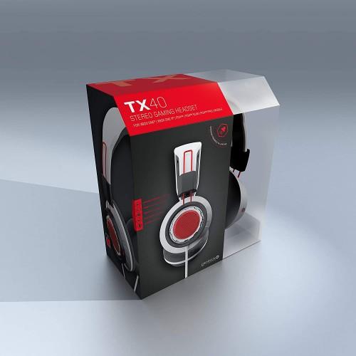 Headset Gioteck TX-40 Gioteck Branco & Vermelho Multiplataforma